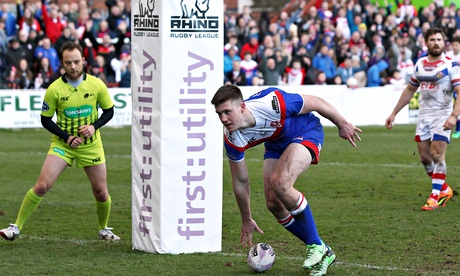 Joe Greenwood scores the fourth try for St Helens in the Super League game against Wakefield Trinity