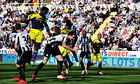 Swansea City's Wilfried Bony scores their first goal in the Premier League match against Newcastle