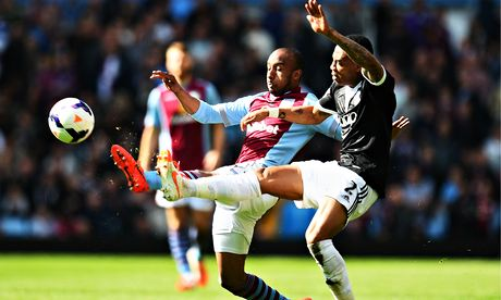 Aston Villa's Fabian Delph, left, and Southampton's Nathaniel Clyne in the Premier League