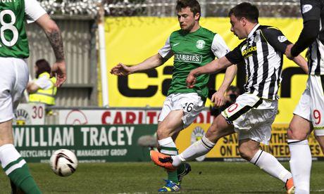 St Mirren Paul McGowan scores his sides second goal against Hibs in the Scottish Premiership match