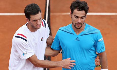 Italy's Fabio Fognini, right, beat James Ward in the first match of the Davis Cup tie with Britain