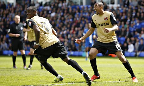 Leyton Orient's Moses Odubajo celebrates after scoring against Peterborough in the League One