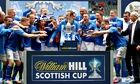 St Johnstone celebrate winning the Scottish Cup against Dundee United at Celtic Park