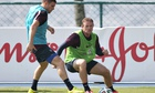 Wayne Rooney, right, in training with James Milner at England's base in Rio de Janeiro.
