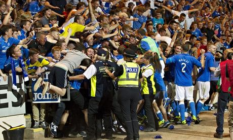 St Johnstone's players celebrate with supporters after winning a penalty shoot out against FC Luzern