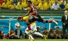 Colombia's Juan Camilo Zúñiga goes in for the challenge that fractured a vertebra in Neymar's back d