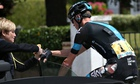 Chris Froome receives medical attention after his crash on stage four of the Tour de France