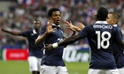 France's Loic Remy takes the plaudits after scoring during the international friendly against Spain