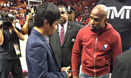 Floyd Mayweather and Manny Pacquiao finally meet in person