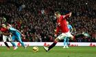 Wayne Rooney scores for Manchester United against Sunderland in the Premier League at Old Trafford