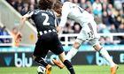 Gylfi Sigurdsson, right, scores Swansea's second goal against Newcastle in the Premier League