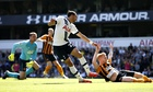 Nacer Chadli scores the first goal for Tottenham against Hull City in the Premier League