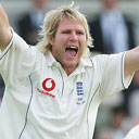 Matthew Hoggard celebrates the wicket of Matthew Hayden
