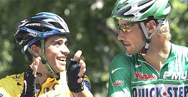 Albert Contador and Tom Boonen