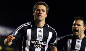 Michael Owen celebrates after scoring against Birmingham City at St Andrews, Birmingham