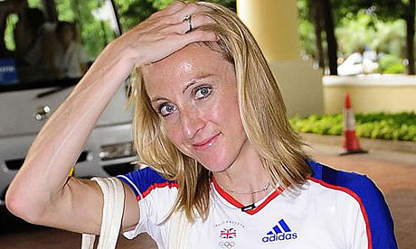Paula Radcliffe arrives at the Team GB hotel in Macau