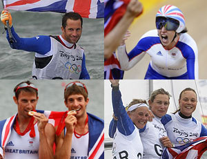 Composite of Great Britain's Olympic gold medallists on day nine