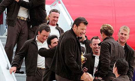 Europe's Ryder Cup team leave for the US