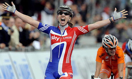 Britain's Nicole Cooke crosses the finish line first during the world road race championships in Varese