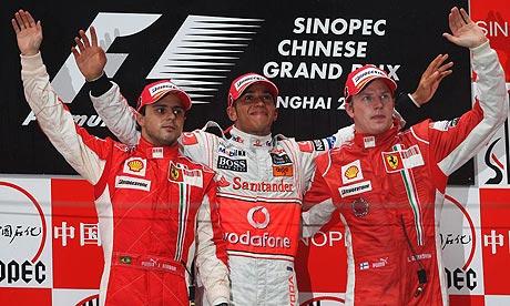 Chinese grand prix - Hamilton, Massa, Raikkonen