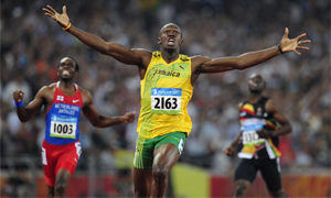 Usain Bolt wins the mens' 200 metres final at the Beijing Olympics 2008