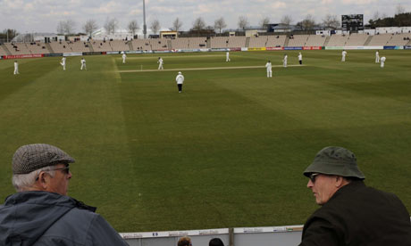 Spectators watch a County Championship match at The Rose Bowl, Southampton