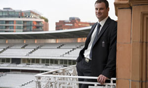 England's new cricket captain, Andrew Strauss, poses at Lords
