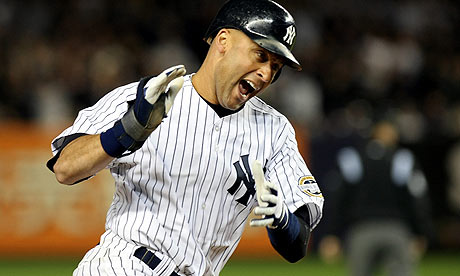 Derek Jeter celebrates during the New York Yankees' win over the M
