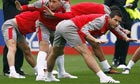 Frank Lampard, right, warms-uo ahead of England's World Cup qualifier against Ukraine