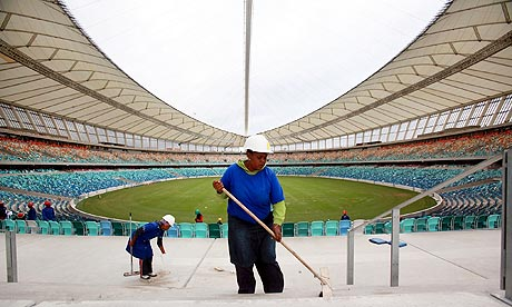 Moses Mabhida Stadium Construction workers put the final touches to the