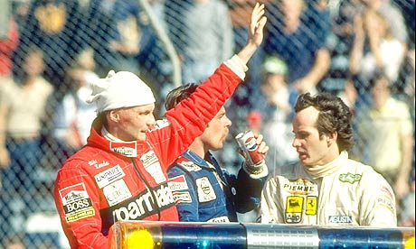 Niki Lauda and Keke Rosberg after the 1982 US grand prix west at Long Beach