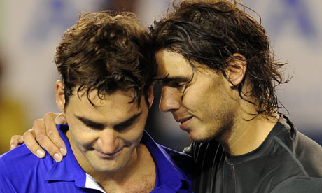 rafael nadal arms. Rafael Nadal hugs his defeated