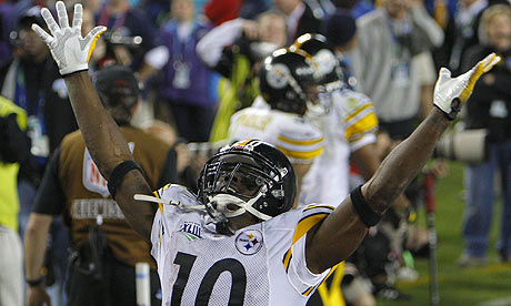 Steelers' Holmes celebrates after catching game-winning touchdown.