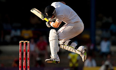 England's Kevin Pietersen ducks a ball