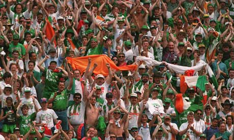 Ireland fans before the game against Italy at the World Cup '94