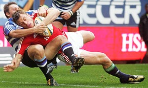 Tommy Bowe scores the Lions' first try in their 26-23 win over Western Province.