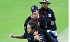 Kevin Pietersen leaps on Ryan Sidebottom after England's win over India.