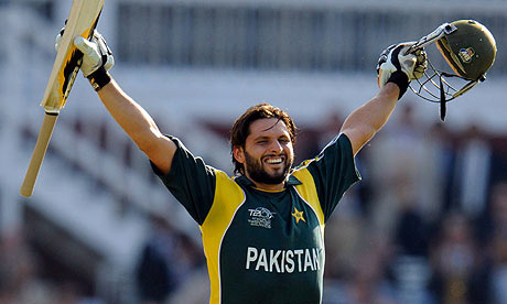Reuters: Afridi celebrates after hitting the winning runs.