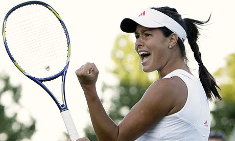 Ana Ivanovic of Serbia celebrates a point