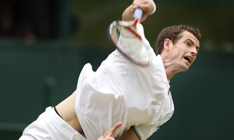 andy murray body. Andy Murray waves his racket