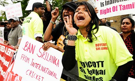 A demonstration against the Sri Lanka cricket team outside Lord's