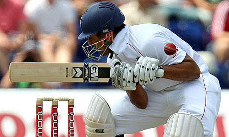 Ravi Bopara gets hit by a short ball from Australia's Mitchell Johnson in the first Ashes Test