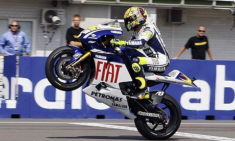 valentino rossi. Valentino Rossi celebrates as