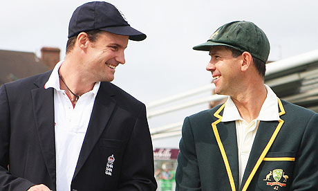 Andrew Strauss with Ricky Ponting