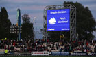 A sign announces England's Twenty20 match against Australia at Old Trafford has been abandoned