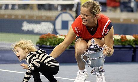 Kim Clijsters celebrates her US Open win with daughter Jada