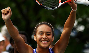 Heather Watson celebrates winning the US Open junior girls title