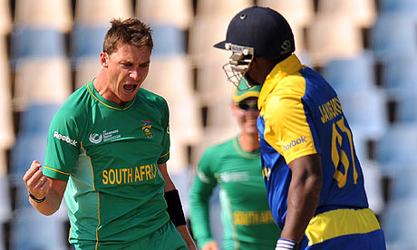 Dale Steyn celebrates the first wicket of the ICC Champions Trophy