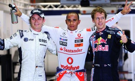 Lewis Hamilton, with Nico Rosberg and Sebastian Vettel