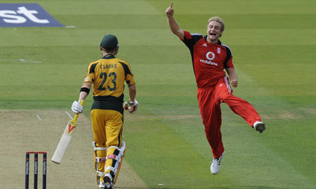 England's Luke Wright celebrates the wicket of Australian captain Michael Clarke at Lord's